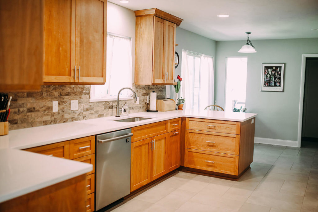 kitchen remodel with wood cabinets