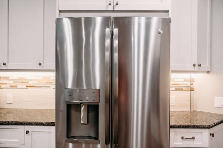 Stainless steal fridge in a modern kitchen