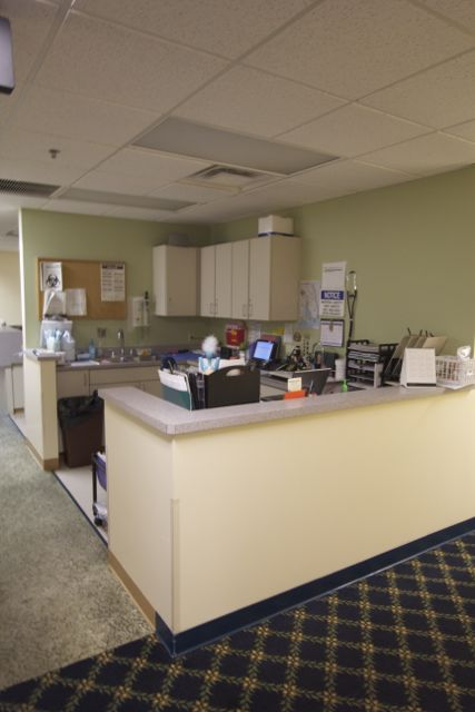 Employee station in a medical office